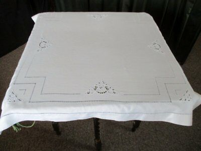 Antique Tablecloth-Hand Embroidered Flowers - Linen