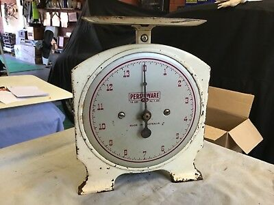 antique tin scales persinware 14 pound in. Onces