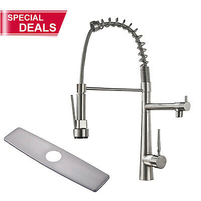 28'' Pre-Rinse Kitchen Sink Faucet Pull Down Spray Brushed Nickel Soap Dispenser