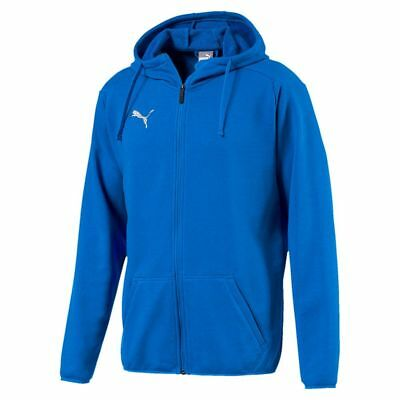 Puma Kids Sport Football Soccer Hooded Jacket Long Sleeve Full Zip Track Top Blu