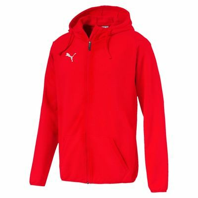 Puma Kids Sport Football Soccer Hooded Jacket Long Sleeve Full Zip Track Top Red