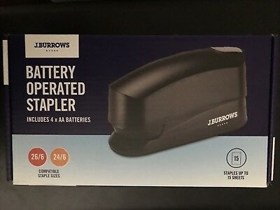 J.Burrows Battery Operated Stapler  NEW includes 4x AA Batteries