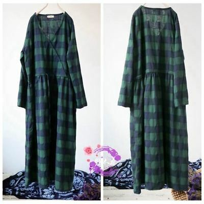 f90afac6d8 Women s Loose V Neck Long Sleeve Belted Plaid Pattern Plus Size Long Maxi  Dress
