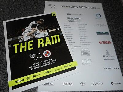 DERBY COUNTY  v  READING  2018/19  JAN 19th MINT   +  FREE COLOUR TEAM SHEET