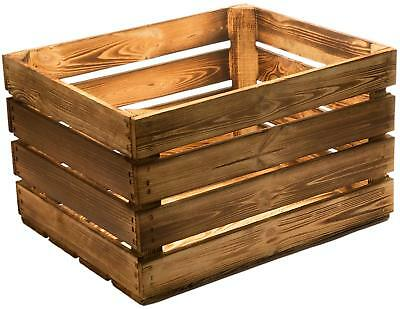 Burntwood Tourched Wood Vintage Wooden Apple Crate Rustic Old Bushel Box