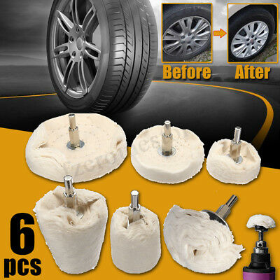 6 Pcs Polishing Kit Buffing Pad Mop Wheel Drill Aluminium Alloy Stainless Steel