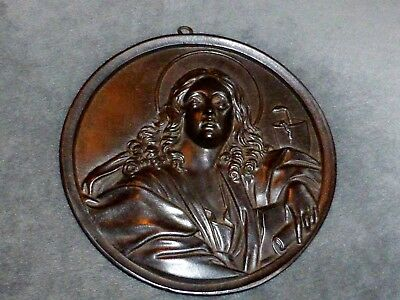Superb Antique Saint John the Evangelist Bronze Plaque.