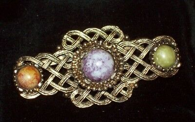 Vintage Jewellery Scottish Bronze Faux Agate Celtic Design Brooch/pin Plaid