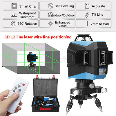 12 Line Laser Level Green Self Leveling 3D 360° Measure Auto Control Wall Mount