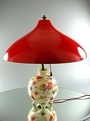 ANTIQUE SORAU PORCELAIN ART DECO TABLE LAMP BRASS & ALUMINUM SHADE GERMANY 1930s