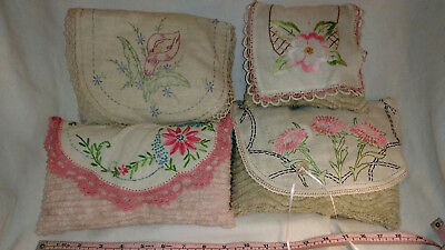 Vintage lot of 4 Pillow Hand Embroidered  #1