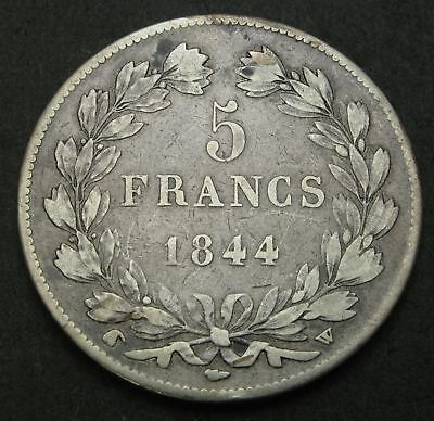 FRANCE 5 Francs 1844 W - Silver - Louis Philippe I. - F - 1615