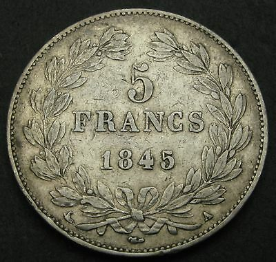 FRANCE 5 Francs 1845 A - Silver - Louis Philippe I. - F/VF - 1616