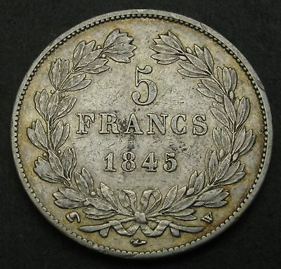 FRANCE 5 Francs 1845 W - Silver - Louis Philippe I. - VF - 1617