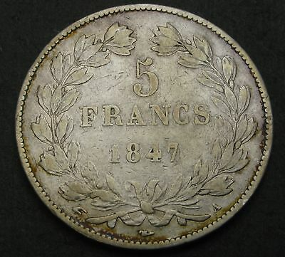 FRANCE 5 Francs 1847 A - Silver - Louis Philippe I. - F/VF - 1619