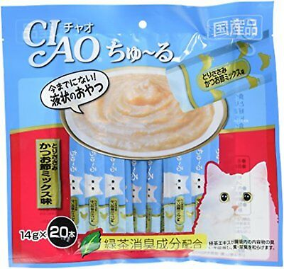 INABA CIAO Catfood Churu Cat Lick Snacks Fillet Bonito chicken mix 14g x 20p*