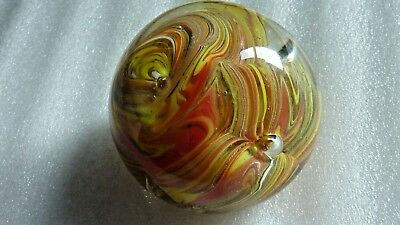 Glass Paperweights Yellow-Orange Swirls - Collectable - Pre-Owned