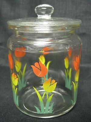 """Vintage SMALL Hard to Find 3.5"""" Anchor Hocking Tulip Glass Jar Cannister & Lid"""
