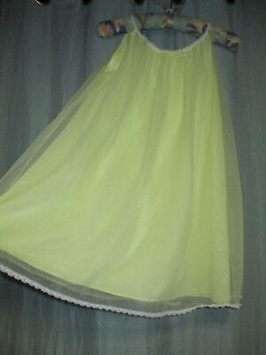 VTG yellow short chiffon babydoll negligee sissy WIDE nightgown double lay S 322