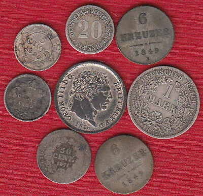 (8) Foreign Silver Coins 1800's
