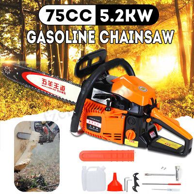72cc 5.2KW Petrol Chainsaw Cutter With 20'' Bar & Chains Kit Gasoline Chain Saw