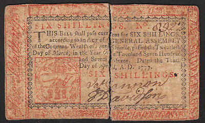 10 April 1777 Philadelphia 6 Shilling Colonial Currency