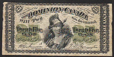 1870 25 Cent Dominion of Canada Note DC-1a Series A