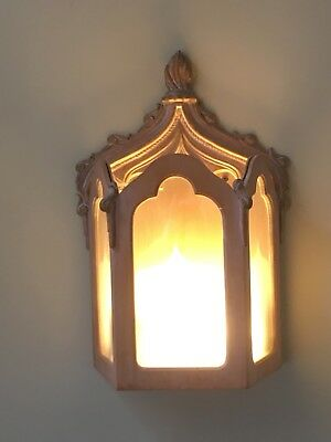 Dramatic gothic ornate box style wall lights limed oak x 4