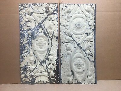 "2pc Lot of 24"" by 11"" Antique Ceiling Tin Vintage Reclaimed Salvage Art Craft"