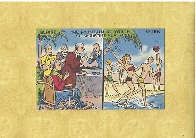 FL St. Augustine 1940-50s vintage postcard FOUNTAIN OF YOUTH OLD & YOUNG FLORIDA