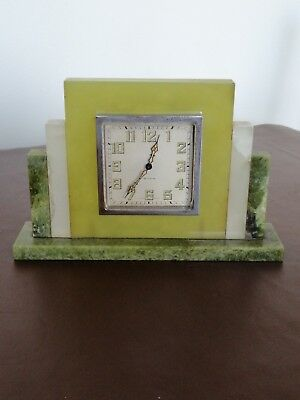 ART DECO Marble Mantel Clock Tri-colour marble