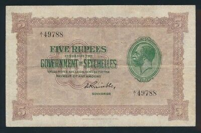 "Seychelles: 1936 5 Rupees ""RARE GEORGE V PORTRAIT ISSUE"". Pick 3c Good Fine"