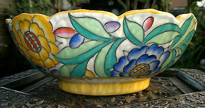 Rare Art Deco Charlotte Rhead Crown Ducal 'Persian Rose' Flower Bowl c1934