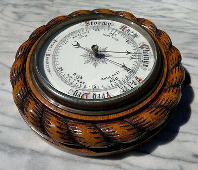 "Antique Edwardian Carved Oak Rope Edge Barometer with Porcelain Dial 9.5"" dia"