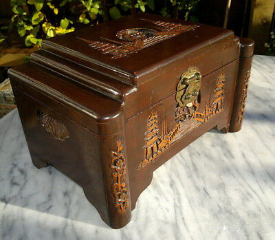 Small Antique 1920`s Chinese Camphor Wood Carved Chest Jewellery Trinket Box