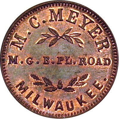 1863 Milwaukee Wisconsin Civil War Token M C Meyer NGC MS66 RB