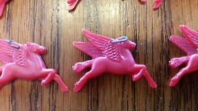 """Vintage Red Plastic Pegasus Horse """"mobil Gas"""" Collectible Promotional Charm"""