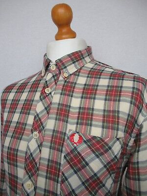 Fred Perry | L/S  Double Cloth Cotton Stewart Tartan Shirt Large/42 (Ecru/Red)