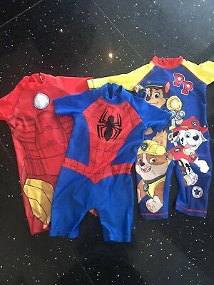 BOYS  AGE 18-24 MONTHS SWIM SUIT, Paw Patrol, Iron Man, Spider Man