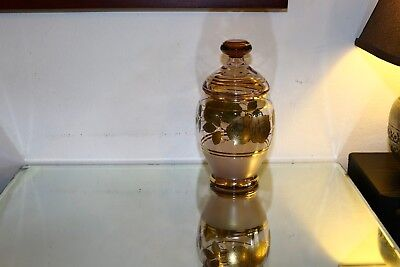 "Crystal gold plated jar + lid ""New"" 1970s Size H: 26cm W: 726g"