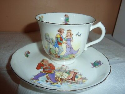 Hammersley &co China Cup & Saucer With Gulliver Brings In Fleet & Princess Glory