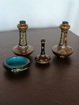 Small Antique Japanese Cloisonne Bud Vase x 2 plus 1 smaller, plus small bowl