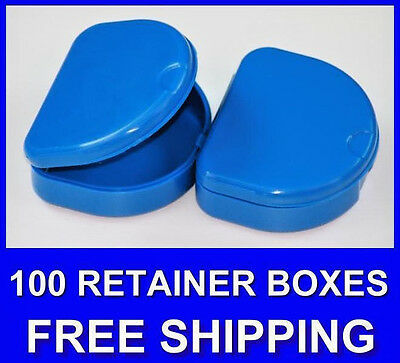 100 Dark Blue Denture Retainer Box Orthodontic Dental Case Mouth Ortho Brace.