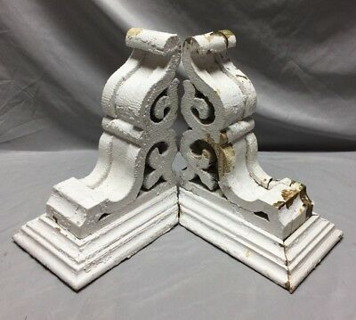 Pr Antique White Roof Corbels Shelf Brackets Shabby Vtg Chic Cornice 30-19M