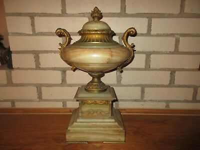 Antique French Empire Bronze Gilt Ornolu Marble Urn Vase Signed Deyouffe 16""