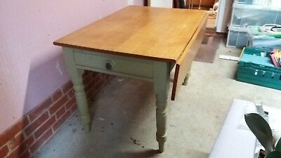 Victorian Kitchen Table, Drop Side 2 Drawers