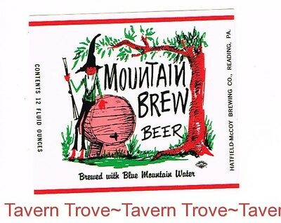 1960s Pennsylvania Reading MOUNTAIN BREW BEER 12oz Label Tavern Trove