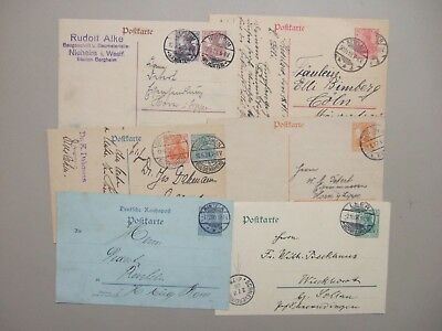 Six old Germany postal stationery with six color printed stamps