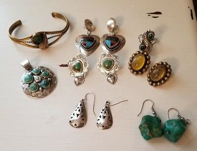 Lot STERLING SILVER Vintage Jewelry, Southwestern,Taxco Signed NO SCRAP 83 grams