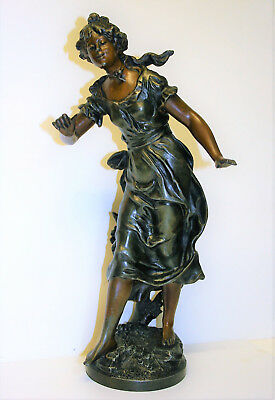 Antique French Spelter Sculpture Maiden Statue After Auguste Moreau Signed 17""